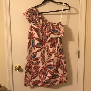 JCrew one shoulder dress with gorgeous pattern.
